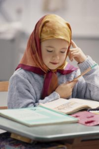 School desk, girl, Muslimin, book, read, model released, school, classroom, lessons, learn, child, Muslim, Muslima, Muslim, faith, religion, Islam, Islamic, headscarf, headgear, concentrates, concentration