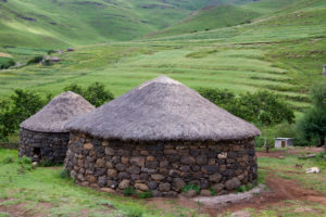 Stone hut in a village