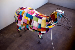 colourful sheep made of wool