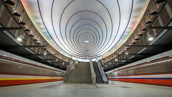 Europe, Poland, Warsaw, Metro, Plac Wilsona station