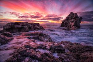 Portugal, Madeira, Küste, Felsen, Brandung