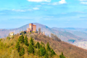 The castle Trifels over the village Annweiler in the palatine forest