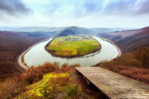 The Saar river bend near Taben-Rodt on a cold day in winter