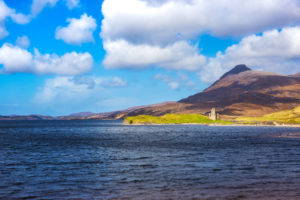 The ruins of Ardvreck castle at Loch Assynt