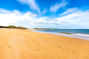 The beach at Dunstanburg Castle in Northumberland, England