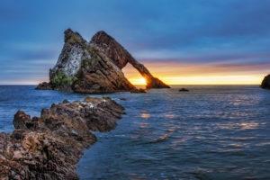 Sunrise at Bow fiddle Rock near Portknockie