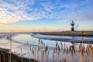 The lighthouse Little Prussia near Wremen in the region Wurster North Sea coast