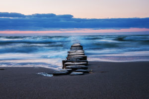 groyne and waves at Baltic Sea, Zingst
