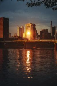 Sunset in Frankfurt am Main, Hesse, Germany