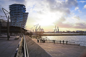 HafenCity view, evening light, Hamburg, Germany