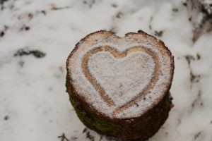 Heart in snow on a tree stump, Harz National Park, Germany,