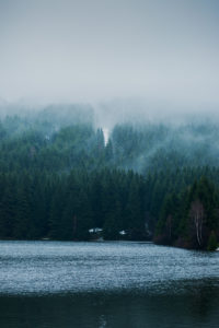 Lake in Harz National Park, clouds, fog, Landscape View, Winter