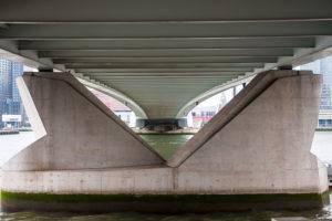 Under the erasmus bridge in Rotterdam