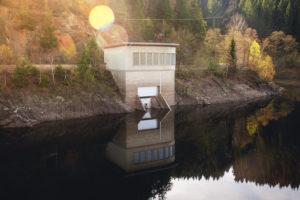 Dam building of mountain lake. Okertalsperre, Okerstausee, National Park Harz in Germany