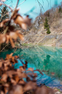 Beautiful blue mountain lake. The Blue Colour is caused by former limestone mining. (Blauer See, Rübeland, Hüttenrode near Blankenburg, National Park Harz in Germany