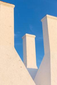 The chimneys of the smokehouse of Hasle, Europe, Denmark, Bornholm,