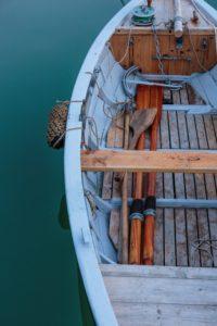 Fishing boat in the harbour of Teglkås at dusk, Europe, Denmark, Bornholm,