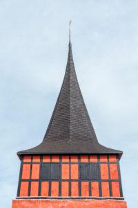 The red steeple of Svaneke Kirke / Svaneke Church, Europe, Denmark, Bornholm, Svaneke,