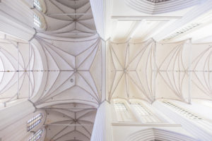 Europe, Germany, Mecklenburg-West Pomerania, Rostock. The stellar vault of the Church of St. Mary (completed in 1454) with the central bigger crossing.