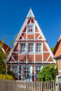 Europe, Germany, Lower Saxony, Otterndorf. Listed old half-timbered house in the Old Town.