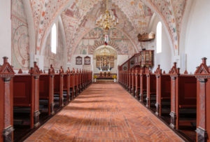 Europe, Denmark, Møn, Keldby, The richly decorated with frescoes (created between 1275-1600) decorated interior of the Keldby church (13, Jh)