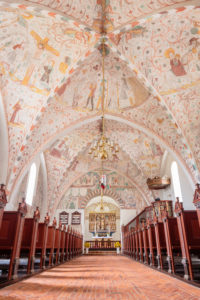 Europe, Denmark, Møn, Keldby, The richly decorated with frescoes (created between 1275-1600) decorated interior of the Keldby church (13, Jh),