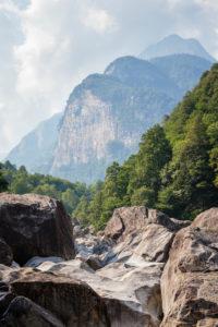 Europe, Switzerland, Ticino, Brione. View from the Valle Verzasca to the massif of the Poncione della Marcia (2454m).