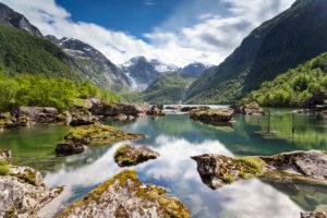 Europe, Norway, Hordaland, Odda, Bondhusvatnet, Bondhus glacier