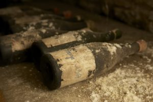Wine cellar, old bottles, dusty, Sancerre, France,