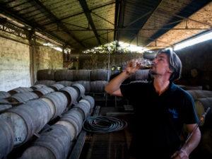 Habitation la Favorite, Rumdestillerie, Franck Dormoy im Rumkeller beim probieren, Destillation mit Dampfmaschine wie vor 100 Jahren