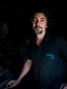 Habitation la Favorite, rum distillery, Franck Dormoy in the rum cellar, distillation with steam engine same as 100 years ago