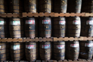 Saint James, rum maturing in wooden barrels