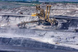 Most (Brüx), lignite opencast, overburden conveyor bagger, excavator, machines in Ustecky, Aussiger Region, Usti nad Labem Region, Czech