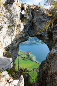 Mondsee, lake Mondsee, rock hole Drachenloch in Salzkammergut area, Salzburg, Austria