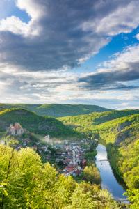 Hardegg, Hardegg Castle, river Thaya, Hardegg Town, Thaya River National Park Thayatal - Podyji, in Weinviertel, Niederösterreich / Lower Austria, Austria
