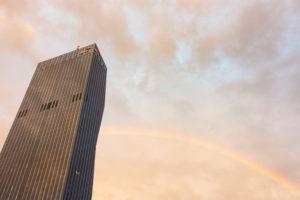 Vienna, DC Tower 1, rainbow, in 22. Donaustadt, Wien / Vienna, Austria