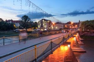 Uzhhorod, Ungwar, Uzh River, pedestrian bridge at old town in Transcarpathian Oblast, Transcarpathia, Zakarpattia, Ukraine