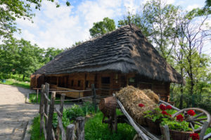 Uzhhorod, Ungwar, Museum of Folk Architecture and Life, traditional house from villages across Zakarpattia (Carpathian Mountains) in Transcarpathian Oblast, Transcarpathia, Zakarpattia, Ukraine