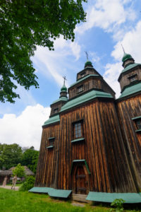 Kiev (Kyiv), Museum of Folk Architecture and Folkways of Ukraine in Pyrohiv, Zarubincy village church, wooden church in Kyiv, Ukraine