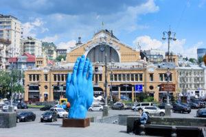 Kiev (Kyiv), Besarabsky Market, artwork hand in Kyiv, Ukraine