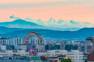 Wien / Vienna, Ferris Wheel in Prater, mountain Schneeberg in 00. overview, Vienna, Austria