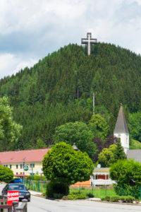 Sankt Barbara im Mürztal, village Veitsch, church St. Vitus, Pilgerkreuz at Veitscher Ölberg (Veitsch Mount of Olives Pilgrims Cross) in Hochsteiermark, Steiermark / Styria, Austria