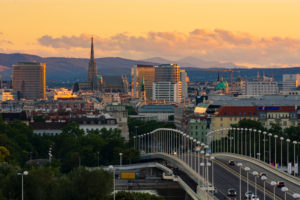 Wien / Vienna, Stephansdom (St. Stephen's Cathedral), Vienna city center, bridge Reichsbrücke, overview, Vienna, Austria