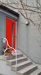 Stairs to the red door