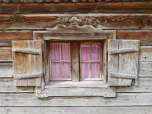 Window in the wooden house