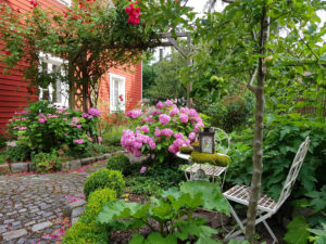 House with flower garden