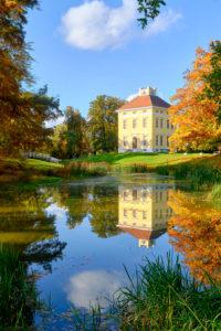 Luisium Castle with bridge near Dessau, Saxony-Anhalt, Germany