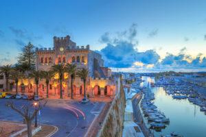 Spain balearic Islands, Menorca Island, Ciutadella City, City Hall Building,  and Ciutadella Port