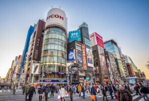 Japan, Tokyo City,, Ginza District, Harumi and Chuo Avenue crossing
