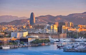 Spain, Catalonia, Barcelona City, Old Harbour, Skyline, sunrise
